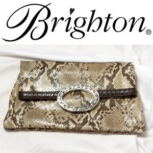 Brighton fold over clutch in snake print